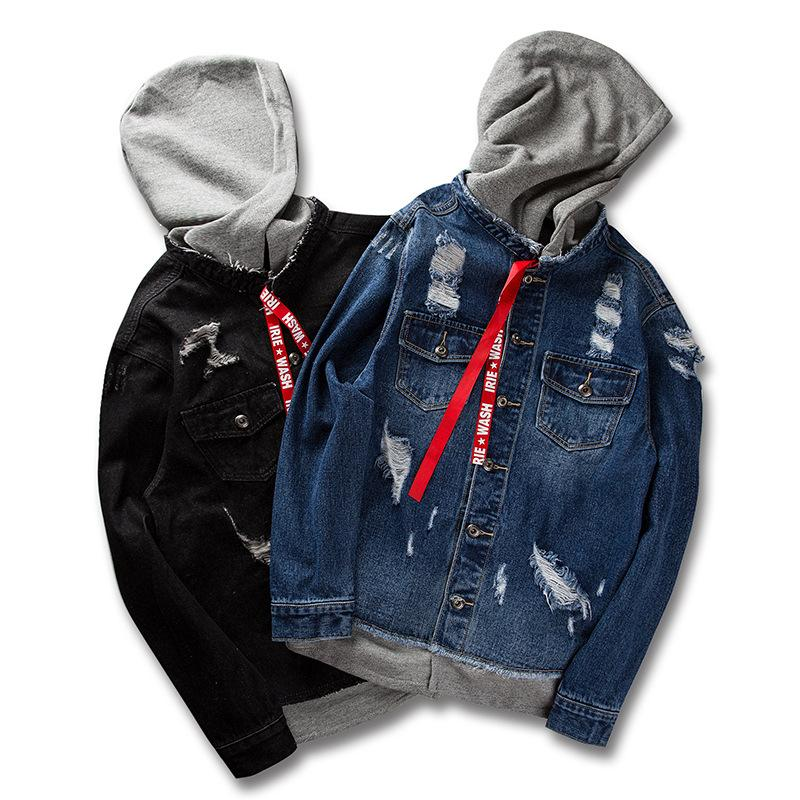 055b8a6b081e Ripped Hole Hooded Denim Jacket Sweatshirts Men Hip Hop Vintage ...