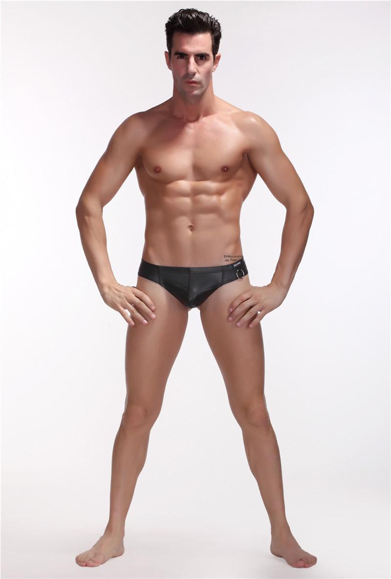YUFEIDA Erkekler Iç Çamaşırı Seksi Eşcinsel erkek G-Strings Thongs Faux Deri Cockring Cueca Jockstrap Ropa İç Eşcinsel Mini Bikini Tanga