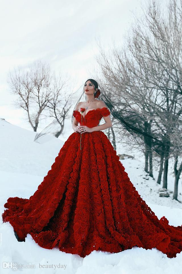 2019 Red Wedding Dresses with 3D Rose Flowers Cathedral Train Arabic Middle East Church Off Shoulder Backless Wedding Gown Said Mhamad