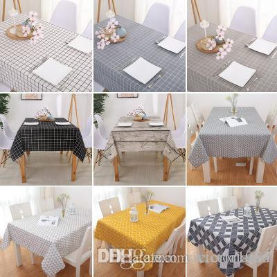 DHgate.com & New 140*140cm Linen Table Cloth Country Style Plaid Print Multifunctional Rectangle Table Cover Tablecloth Home Kitchen Decoration