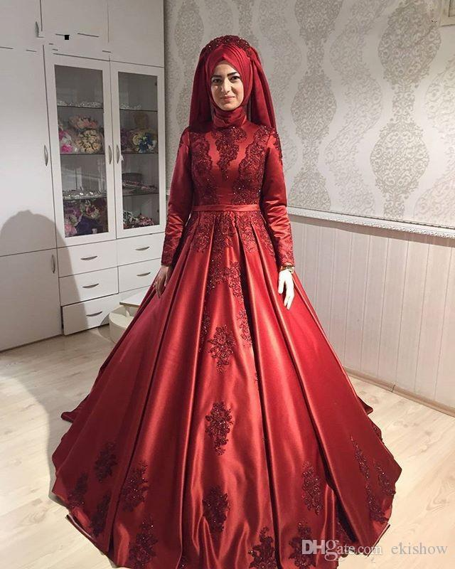 2018 скромный мусульманский Бургундия высокий воротник кружева аппликации-line вечерние платья элегантный Атлас с длинным рукавом формальные длинные платья партии платья