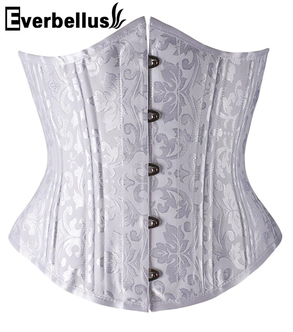 f4f615f6f 2019 Everbellus 24 Steel Boned Corsets Shapewear Underbust Brocade Corselet  Bustier For Weight Loss Satin Women Waist Trainer From Vikey13