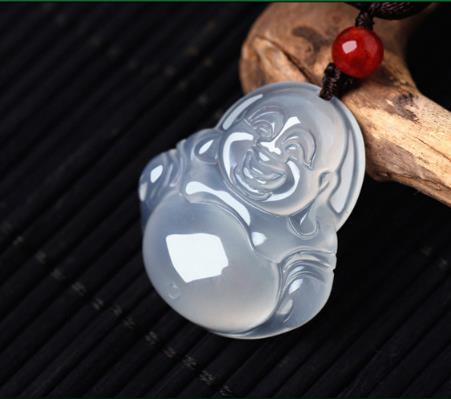 A natural ice Hetian jade jade Guanyin Buddha Pendant pendant cord Pendant Necklace of men and women