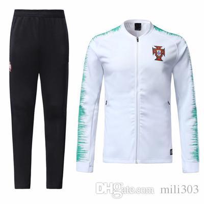0f350efe49 Compre 2018 2019 Portugal Chandal De Chaqueta Blanco Y Rojo 18 19 World Cup  De Futbol RONALDO Uniforme De Chaqueta De Fútbol Maillot De Foot Sportswear  A ...