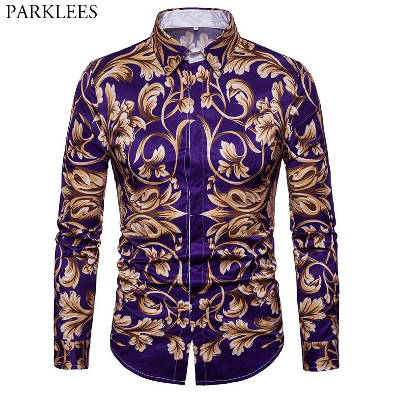 2019 Fashion Golden Floral Printed Shirt Men 2018 Luxury Brand Mens Slim Fit  Long Sleeve Dress Shirts Baroque Style Chemise Homme Xxl From Insightlook,  ... b4b64b562a8