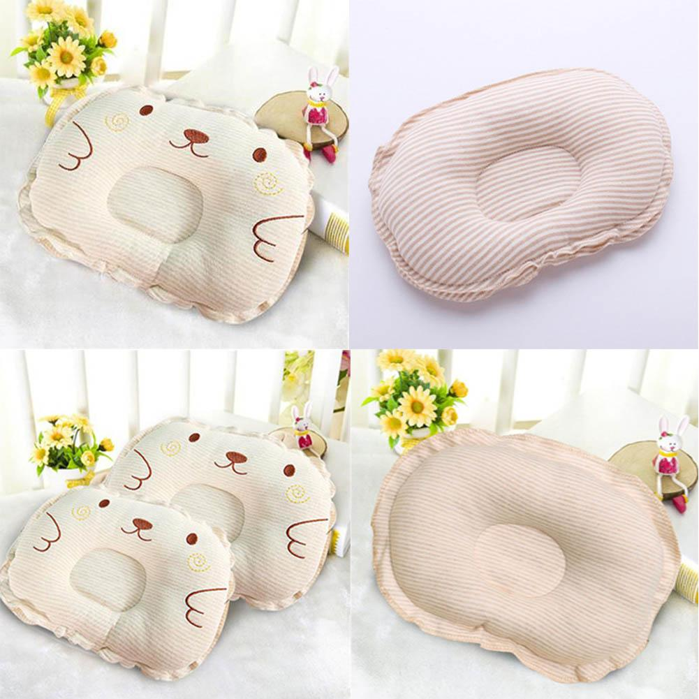 Natural Healthy Organic Cotton Baby Pillow Cartoon Animal Embroidered Newborn Pillows Brown Striped Baby Shaping Pillow