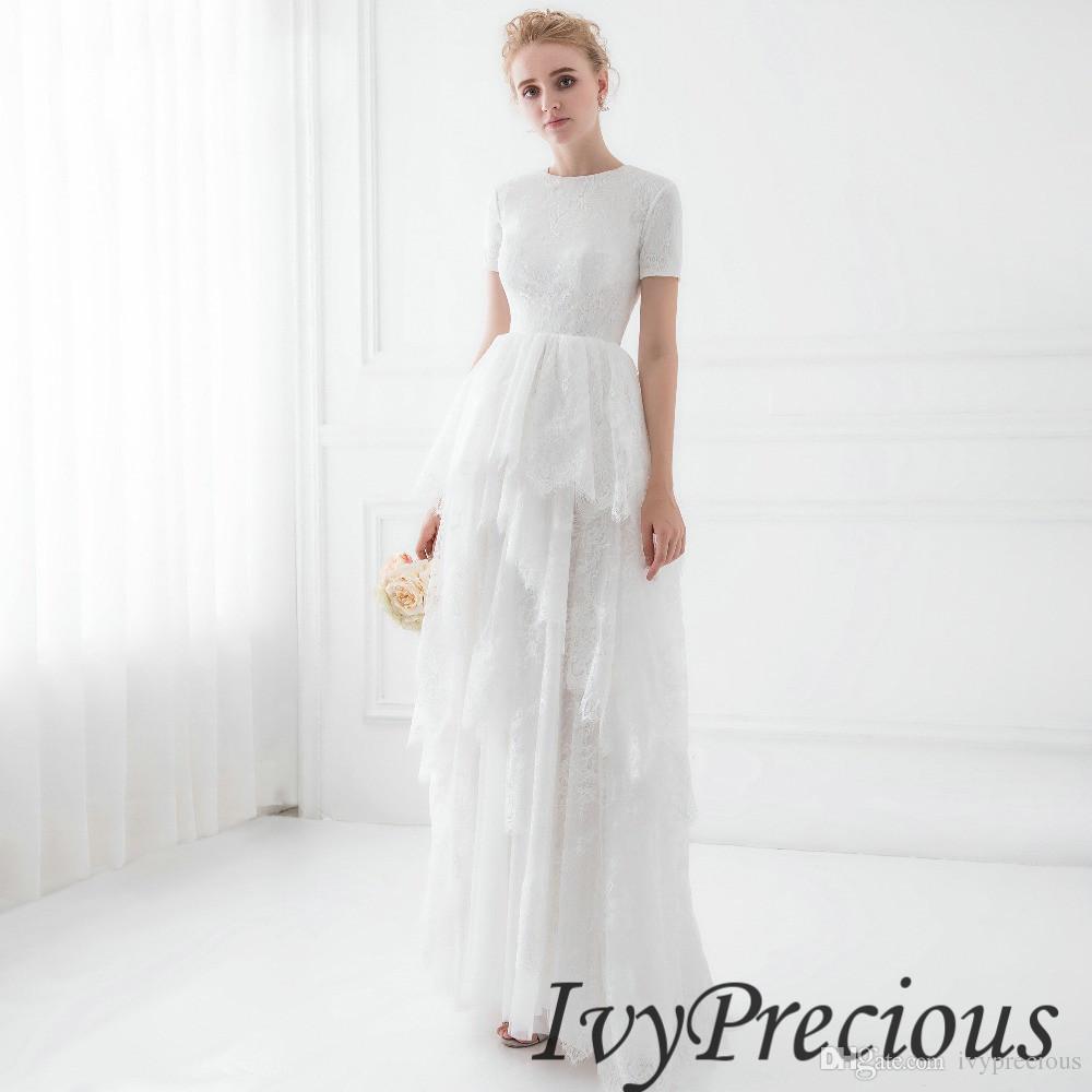 Summer Beach Wedding Dresses Lace Tassel Ankle Length Boho Wedding ...