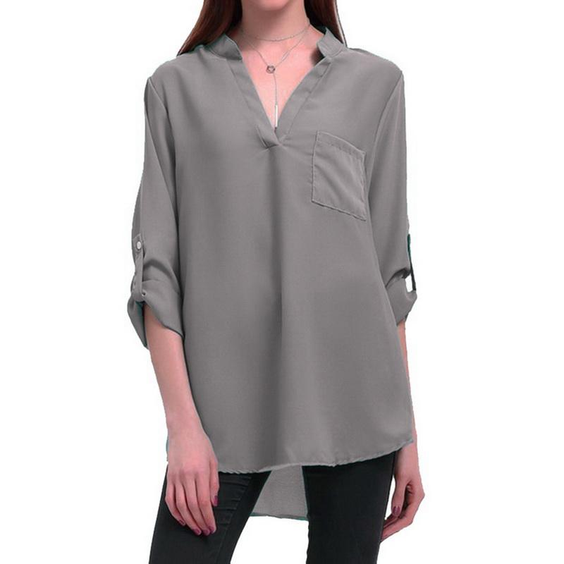 4d5cf68c7aea NIBESSER 2018 blusa de primavera y verano de las mujeres de manga larga con  cuello en v camiseta Top Ladies camisa de gasa de bolsillo suelta blusa ...