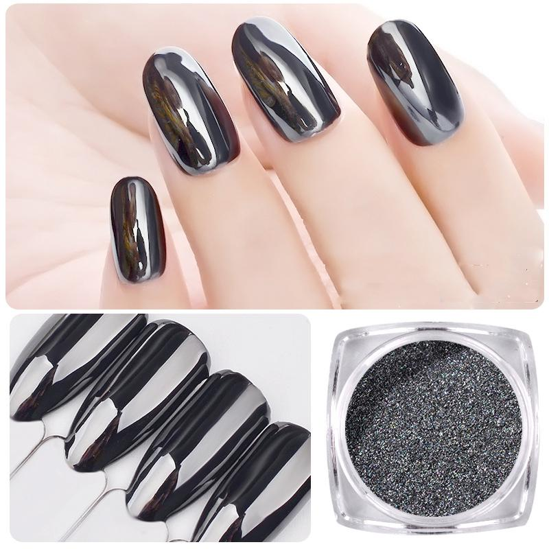 Beleshiny 1g Black Mirror Powder Nail Art Glitter Decoration Ultra