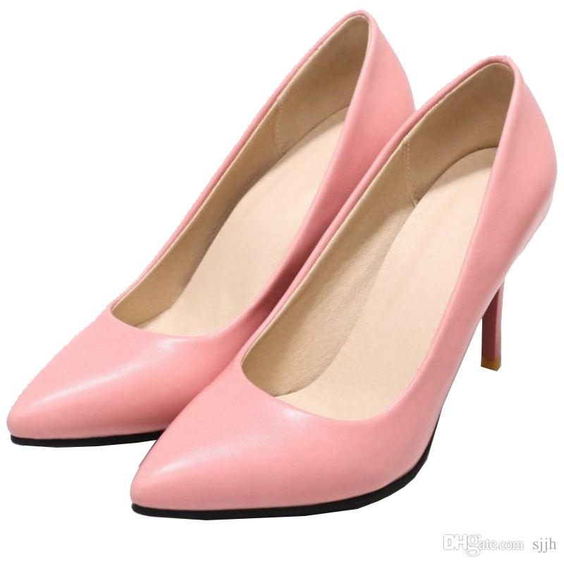 SJJH 2018 Pumps with Pointed Toe and Stiletto Elegant Comfortable Working Dressy Shoes for Fashion Women with Large Size Available A322