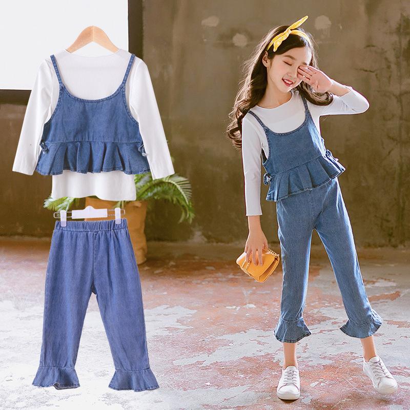 ce7b4e82e2702 2018 Autumn Girls Clothes Set Fashion Outfit Kids Clothes Suit For Girls  Clothing Sets 3 Pcs T-shirts Denim Vest Jeans Pants
