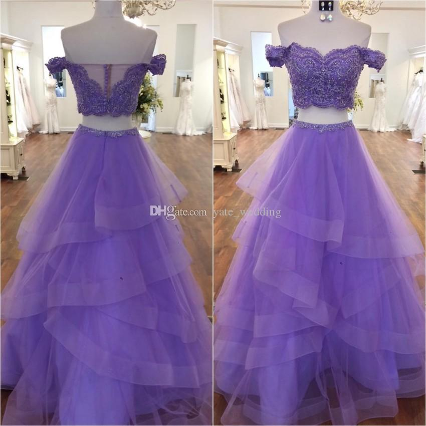0fdc0e53260b Light Purple Two Pieces Prom Dresses Off Shoulder Appliques Beaded Tiered  Tulle Skirt Ball Gown Prom Dresses Mint Green Sweet 16 Dress Ghetto Prom  Dresses ...