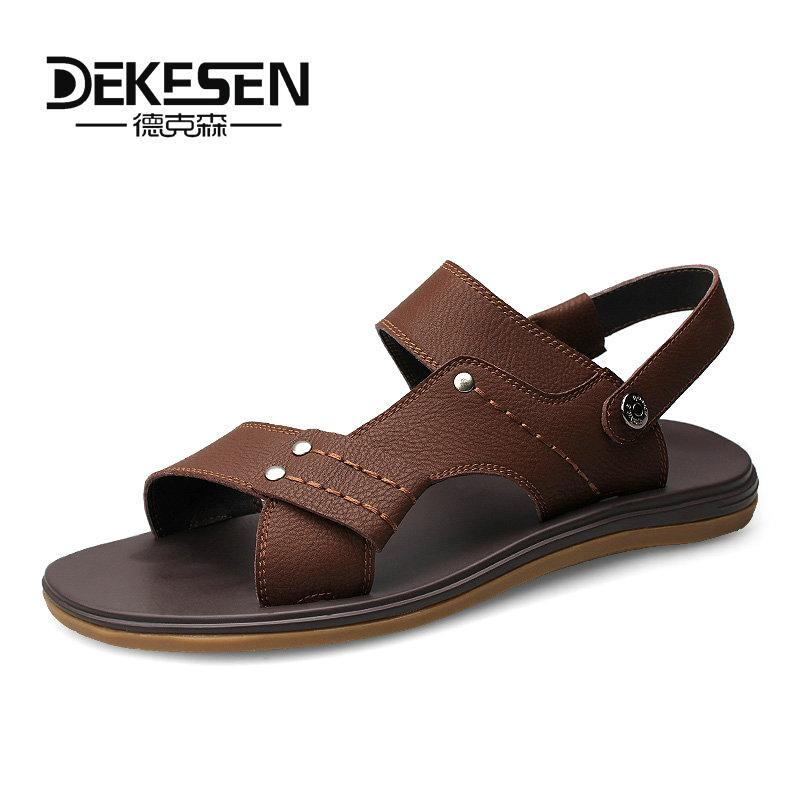 a8f844cbb41 DEKESEN Genuine Leather Sandals Men Summer Shoes Design Men Sandals Fashion  Rubber Walking Beach Flat Slippers Silver Shoes Mens Sandals From  Amoyshoes