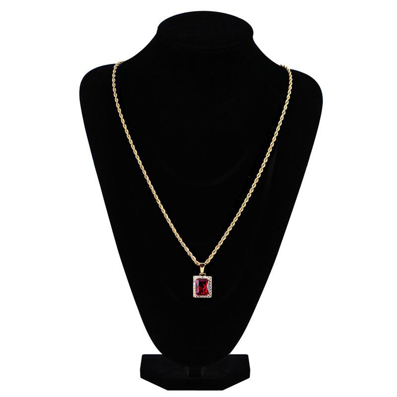 New Fashion Hiphop Gem Pendant Necklaces For Men And Women 18K Gold Plated Necklace Ice Out Cubic Zirconia Hip Hop Jewelry