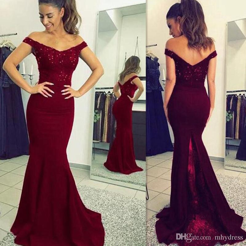 2ef30c300cf 2018 Formal Dark Red Off Shoulder Prom Dresses Mermaid Custom Made Evening  Party Gowns Wear Robe De Soiree High Quality Lace Prom Dresses 2015 Long  Prom ...