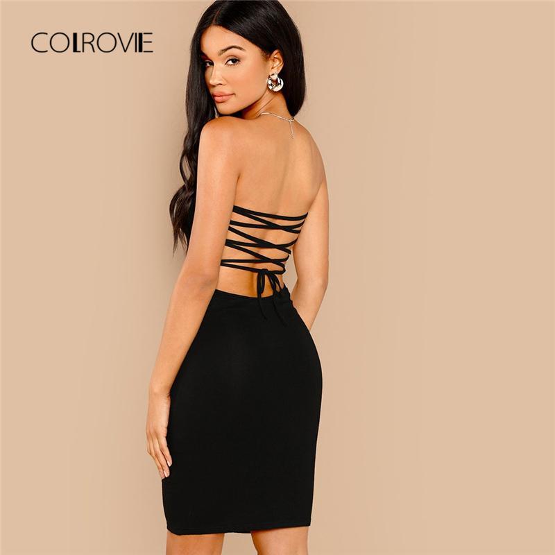 7d2477345ca0 COLROVIE Negro sin respaldo con cordones Bodycon Sexy vestido de las  mujeres 2018 otoño vestido de fiesta sin mangas de noche elegante Midi  vestidos