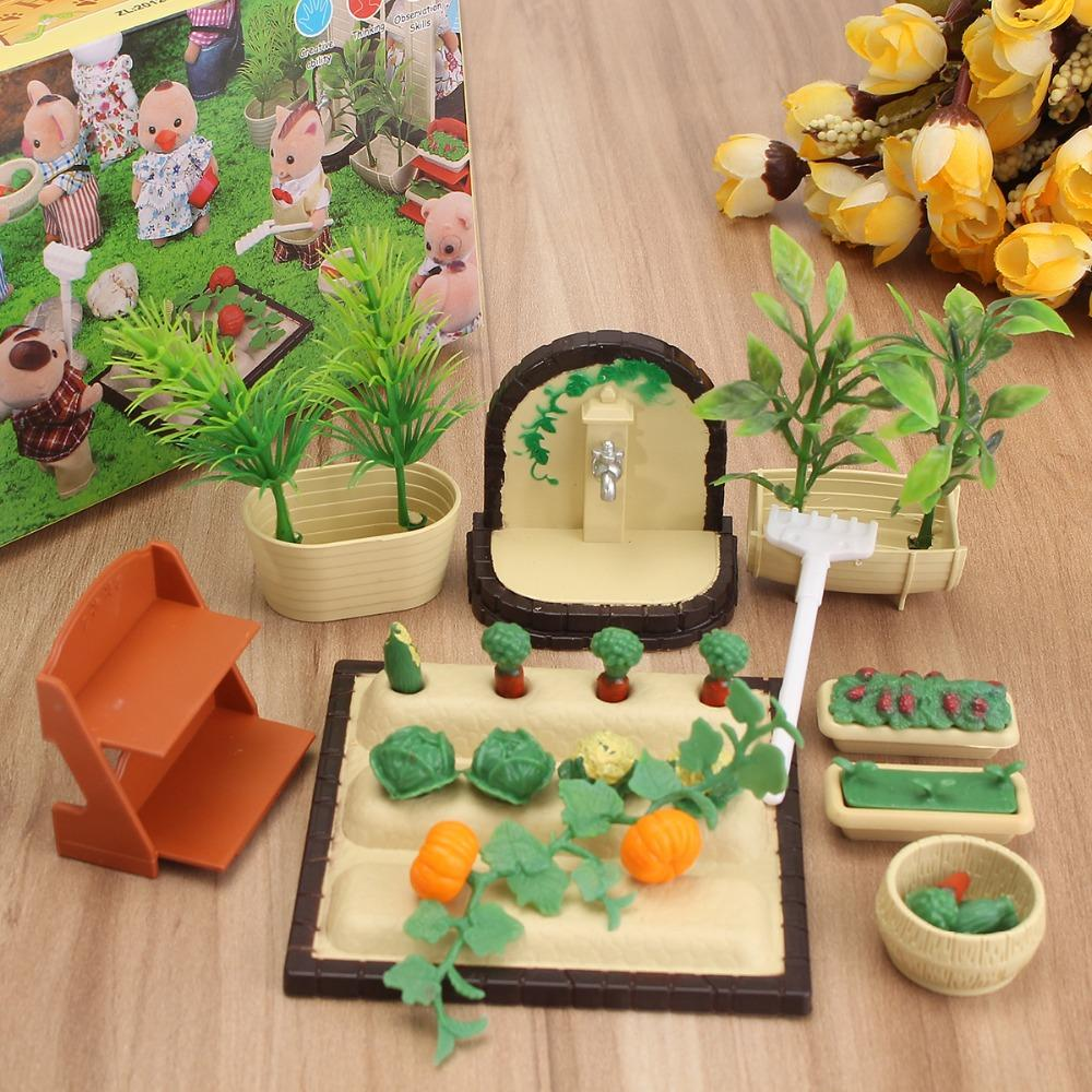 Jimitu Miniatures Gardening Vegetable Flowers Furniture Sets For