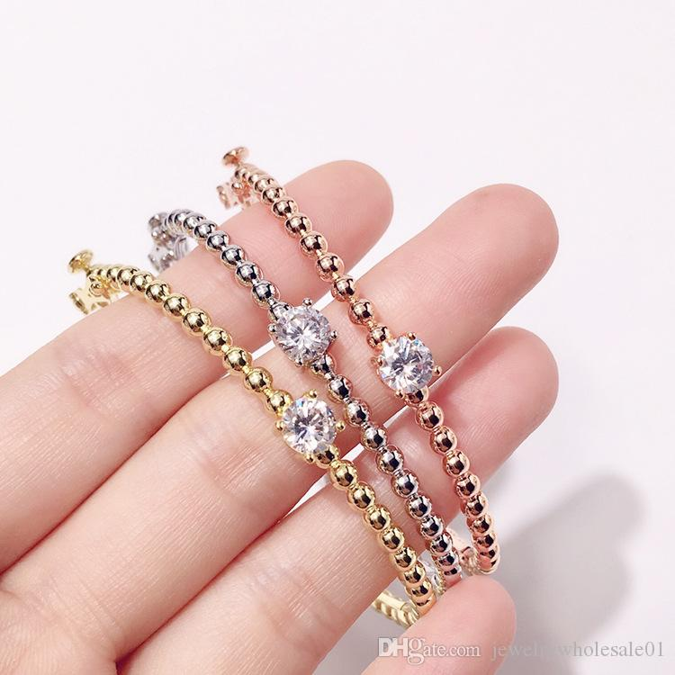 Copper gold-plated glossy inlaid single diamond round bead buckle bracelet jewelry Foreign trade hot exquisite bead bracelet three-color