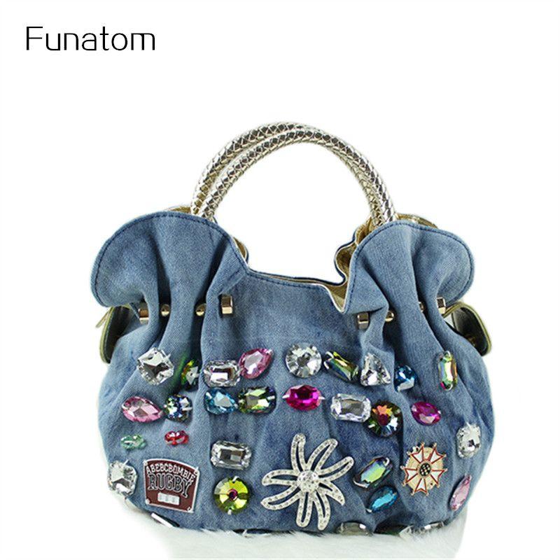15b63f3c8279 New Women Denim Bags Sweet Blue Pattern High Quality Handbags With Diamond  Ladies Tote Bag Messenger Bags Handbags For Sale Fashion Handbags From  Shuiyong