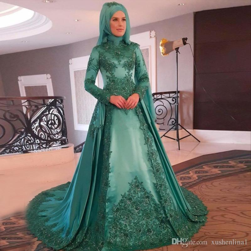 2018 Muslim Green Evening Dresses Full Lace Appliques Long Sleeves ... 7ae749247