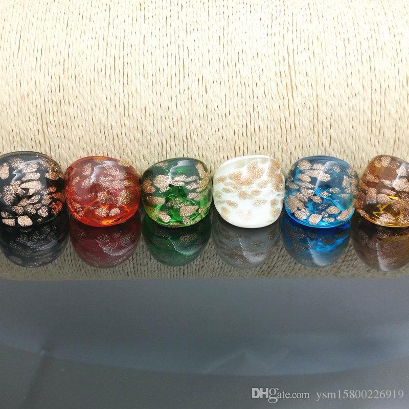 Wholesale Hot 17-19mm Dots Gold Sand Lampwork Glass Murano Rings, Fashion Murano Rings