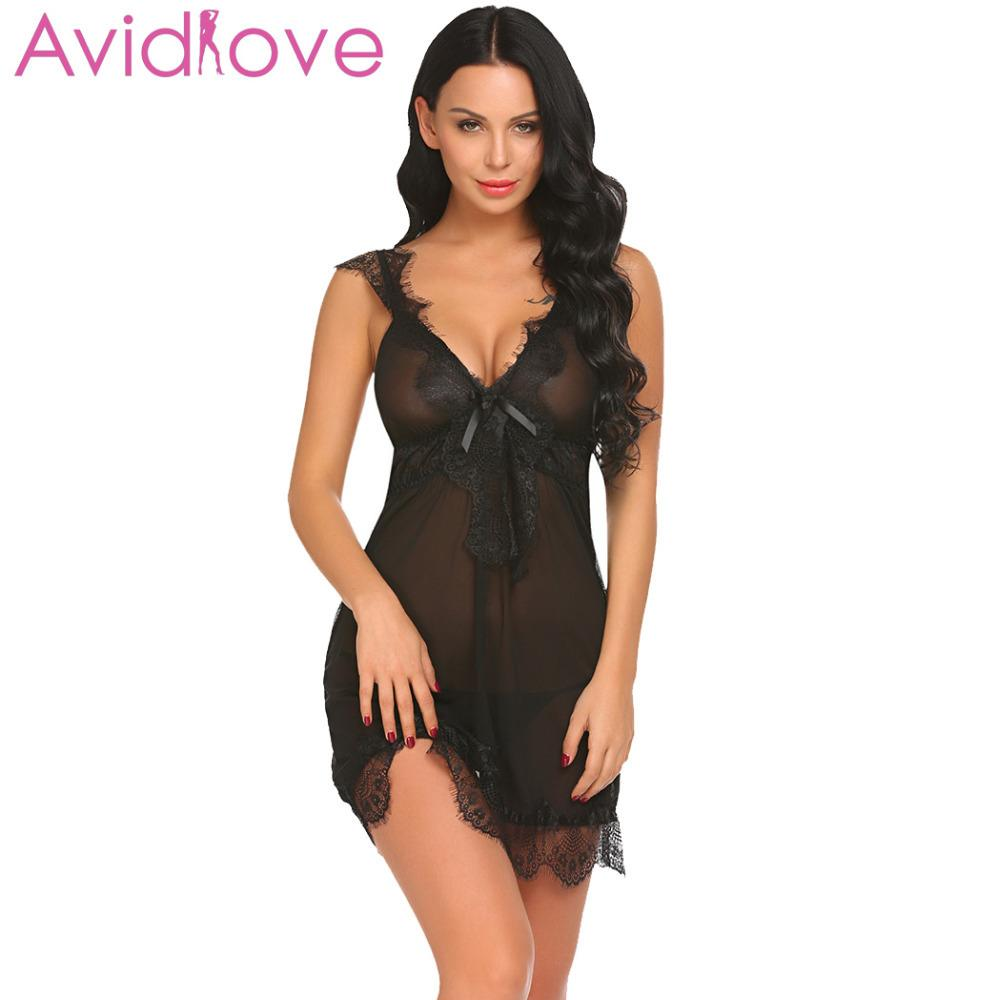 Avidlove Women Sexy Lingerie Erotic Underwear Costumes Babydoll Sheer Set  Lace Patchwork Nightwear With G String D18110801 Lady Nightwear Lingerie  Pvc From ... 71ca6bf1c