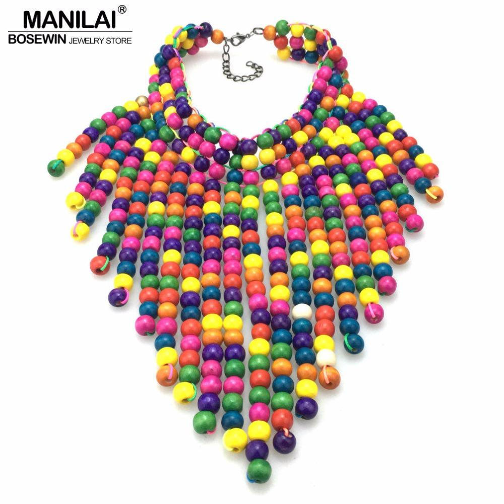 endant Necklaces MANILAI Wood Beaded Statement Necklaces For Women Bohemia Multicolor Beads Long Pendants Bib Necklace Choker Handmade Je...