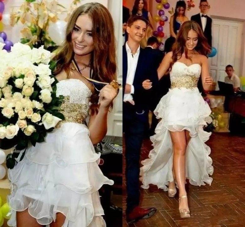 0d696d744 Discount Amazing Gold Lace Beads Wedding Dress High Low Designer Sweetheart  Ruffles Organza Wedding Reception Bridal Dress Gowns Ruffles Lace A Line ...