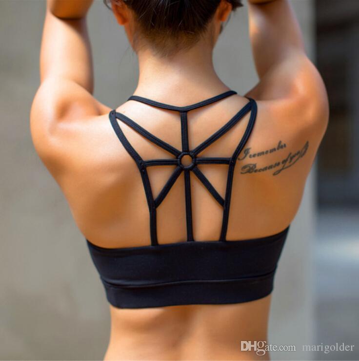 2aa279bdcd5d4 Sexy Back Mesh Shape Sports Bra For Women Running Fitness Sport Bra Popular Hollow  Out Yoga Tops Push Up Underwear Canada 2019 From Marigolder