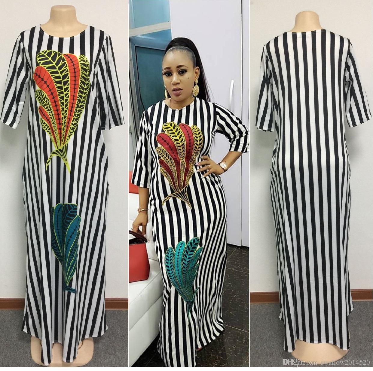 1bc1f3cfd6b 2018 Fashion Women Black And White Stripes Maxi Dress Design Traditional African  Clothing Print Dashiki Nice Neck African Dresses For Women Black Party ...