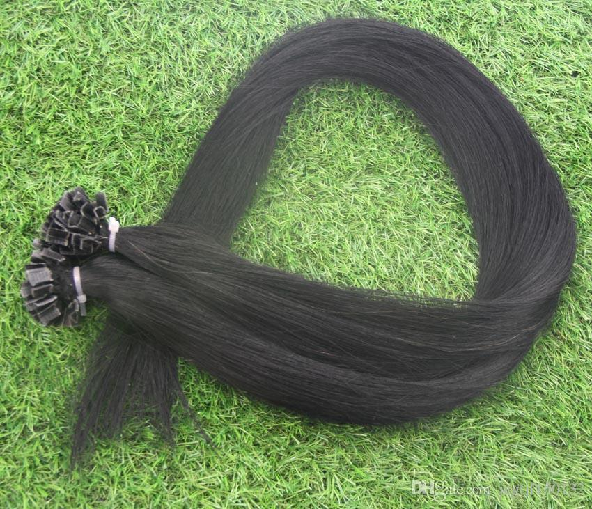 "100g Jet black Straight 100% Machine Made Remy Human Hair Extensions Capsule Keratin Nail V Tip Hair Fusion 10"" 12"" 14"" 16"" 18"" 20"" 22"" 24"""
