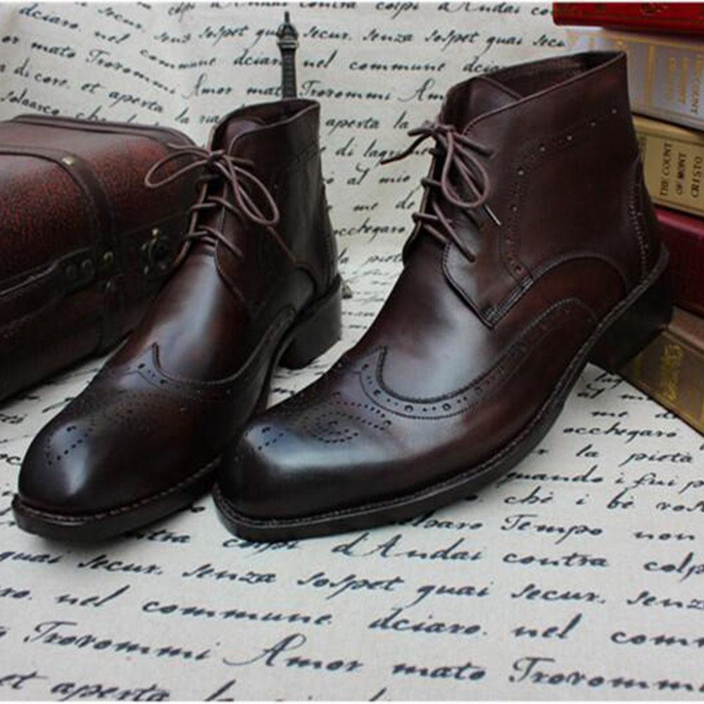2029c45c5c5c3c Acheter Sipriks Cuir De Veau Marron Foncé Brogue Martin Bottes Homme  Classique À Lacets Botte Talon Bout Carré De $316.59 Du Shoesbuddy |  DHgate.Com