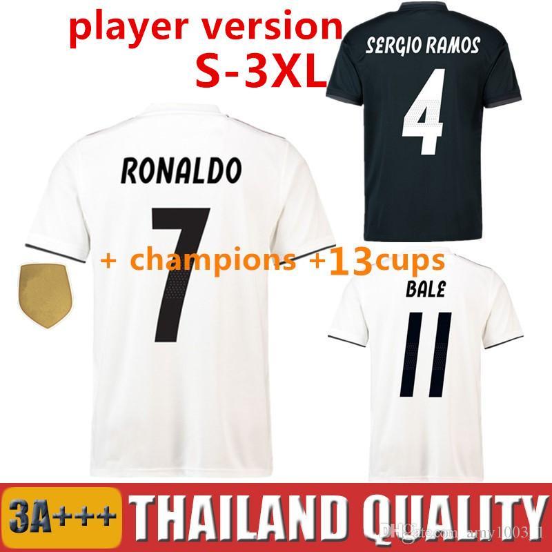 497d948ca2 Compre Versão Do Jogador 18 19 Real Madrid Camisa De Futebol Ronaldo  Asensio Camisa De Futebol Modric Kroos Sergio Ramos Bale Marcelo Isco 2018  2019 De ...