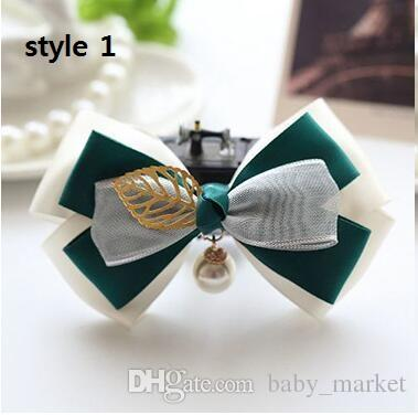 Rhinestone buttons bowknot kids baby children hair clip bow silk barrette hairpin accessories for girls ribbon hair bow ornaments hairgrip