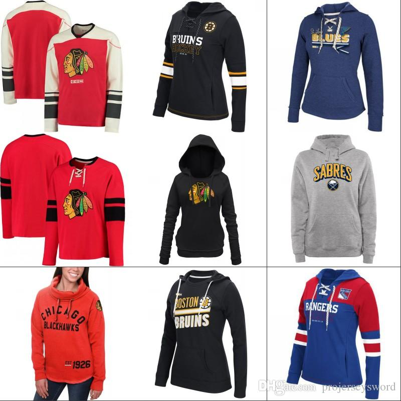 half off 620aa e6c7f Lady Hockey Hoodies Jersey Chicago Blackhawks Boston Bruins Buffalo Sabres  St. Louis Blues New York Rangers Jersey Custom Any Name & Number