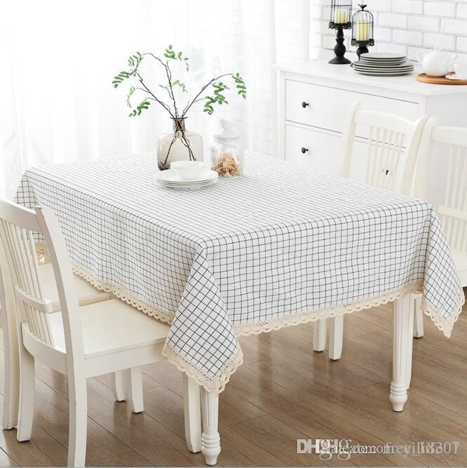 Beau Upgraded Waterproof Tablecloth Cotton And Linen Dinner Table Cloth With  Lace Black White Grid Art Home Decoration Solid Grid Table Cover Tablecloth  Size ...