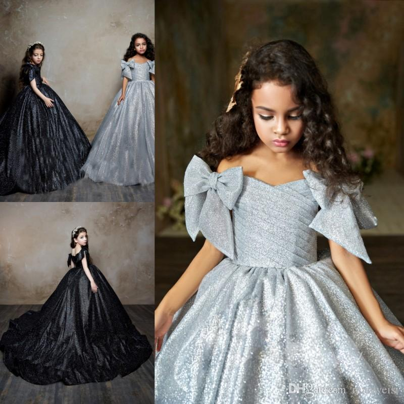 fc42fdca3 Pentelei 2019 Sequined Girls Pageant Dresses Off The Shoulder Pleats  Princess Kids Flower Girls Dress Silver Black Birthday Gowns Pageant Dresses  Kids ...