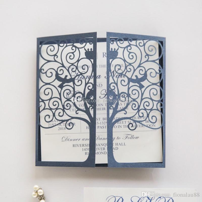 elegant navy blue laser cut wedding invitations cards love tree