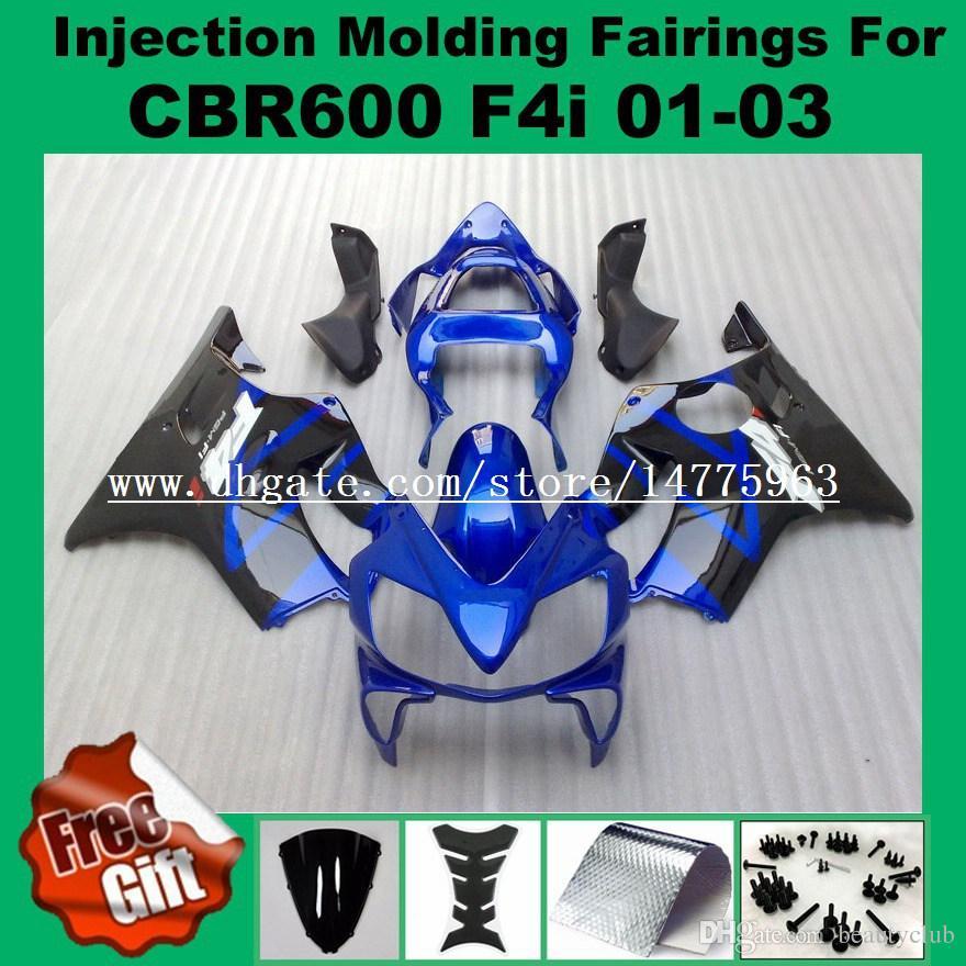 Blue black body Injection fairings For F4i HONDA CBR600F4i CBR600RR 01 02 03 CBR 600 F4i CBR 600F4i 2001 2002 2003 Fairing kits #2I61-22