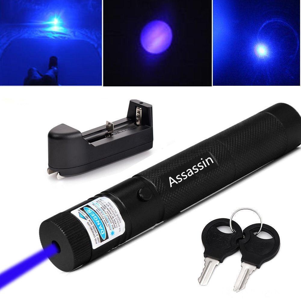 Burning Blue Voilet Laser Pointer Pen 10Mile Powerful Blue Laser Pen Pointer 5mw 405nm+ 18650 Battery + Charger