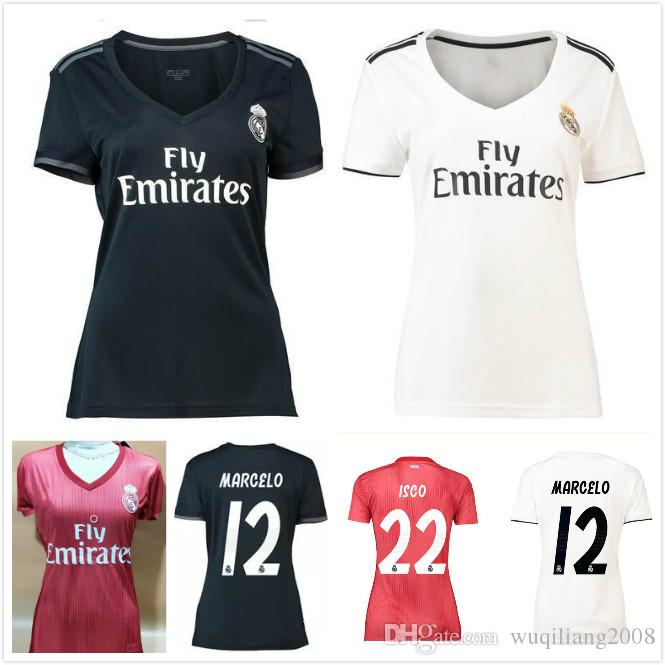 2019 Women ISCO Real Madrid Home White Soccer Jerseys 18 19 Real Madrid  Girl Soccer Shirts 2019 ASENSIO Vinicius Lady 3rd Red Football Uniforms  From ... b0185f9bb