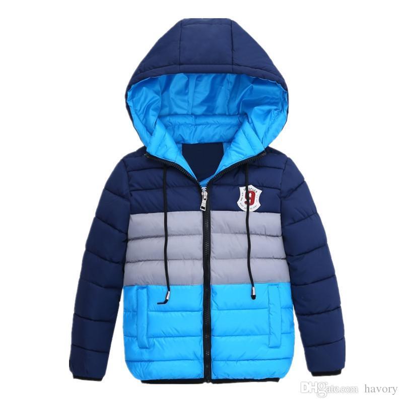 nuovo arrivo 84b53 97aba Ragazzi Giubbotti invernali blu Giacca bambini Giacche zip Giacche  invernali da bambino Cappotto invernale da bambino di alta qualità