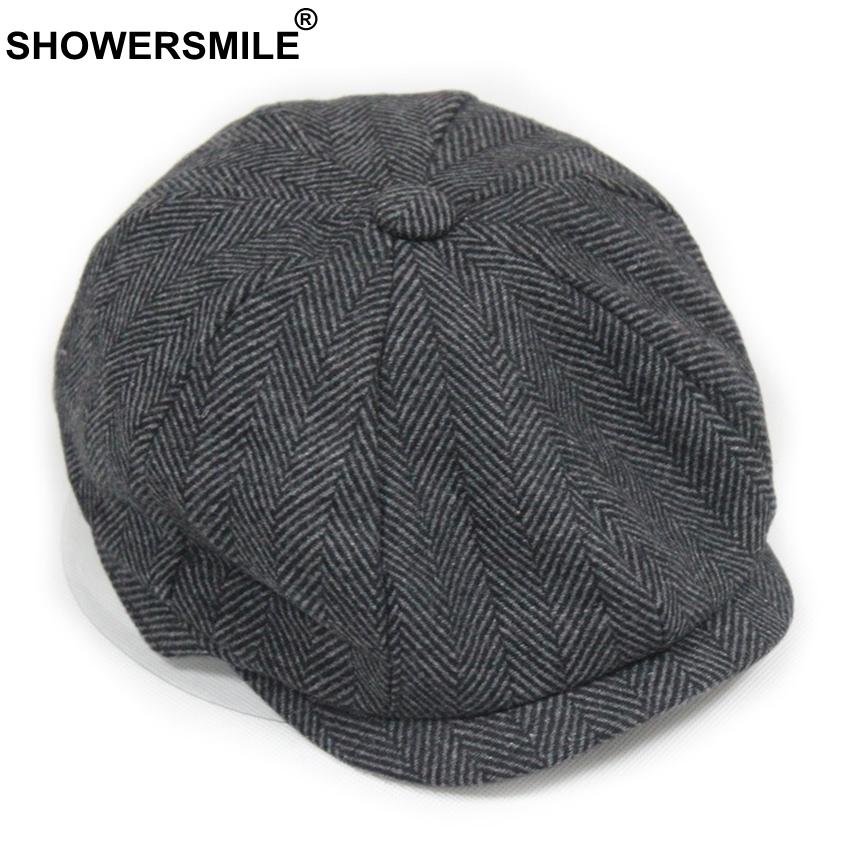 2029663217638 2019 SHOWERSMILE Black Grey Wool Hat Man Newsboy Caps Herringbone Tweed Warm  Winter Octagonal Hat Male Female Gatsby Retro Flat Caps S1020 From Ruiqi08