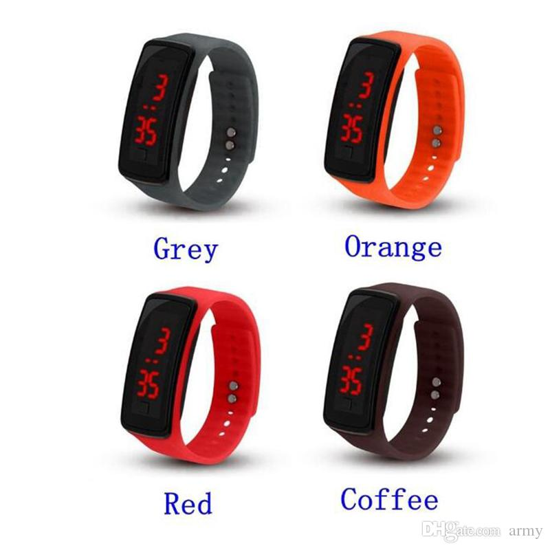 2018 Hot sal wholesale New Fashion Sport LED Watches Candy Jelly men women Silicone Rubber Touch Screen Digital Watches Bracelet Wrist watch