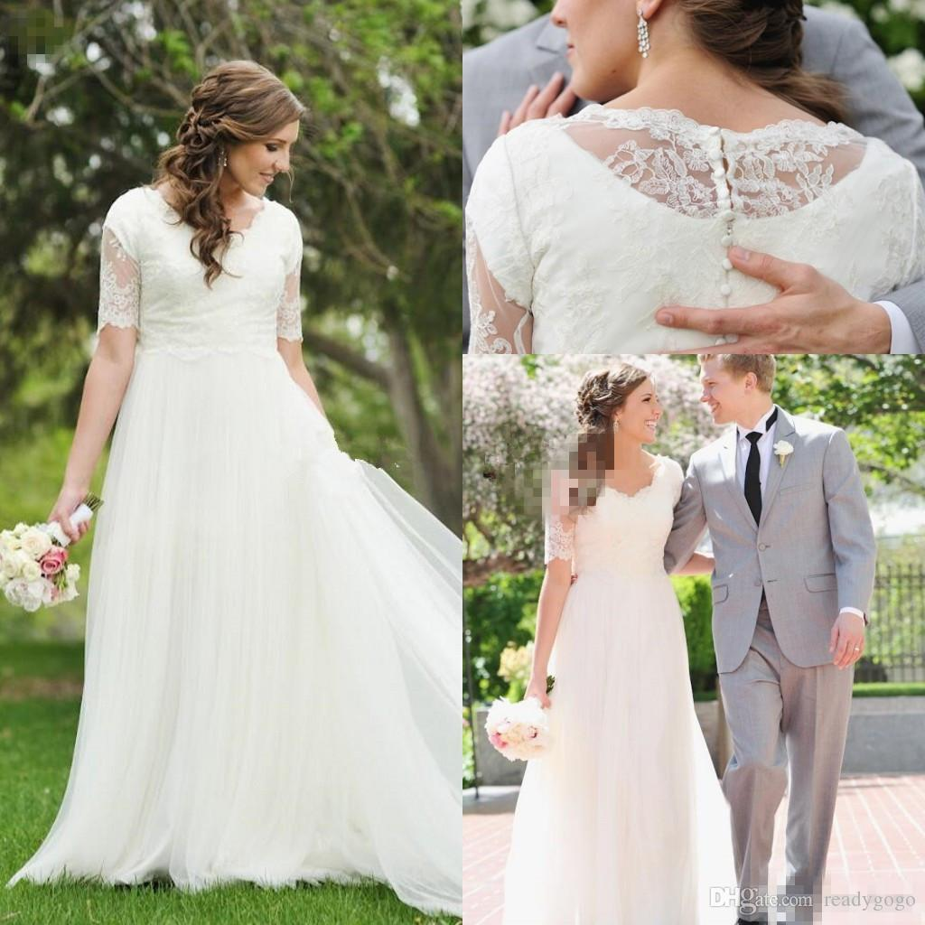 A-Line Lace Tulle Beach Modest Wedding Dresses 2018 Short Sleeves Cheap Simple Summer Garden Informal Reception Mature Bridal Gowns
