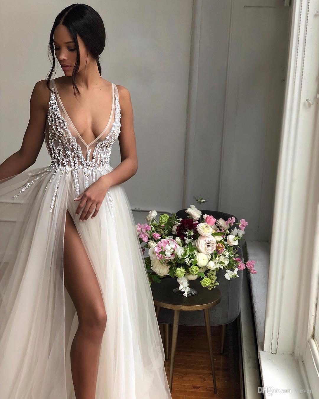 Свадебные платья Berta Beach 2019 с глубоким V-образным вырезом из бисера и богемных свадебных платьев с разрезом по линии и длиной до пола Тюль Vestido De Novia