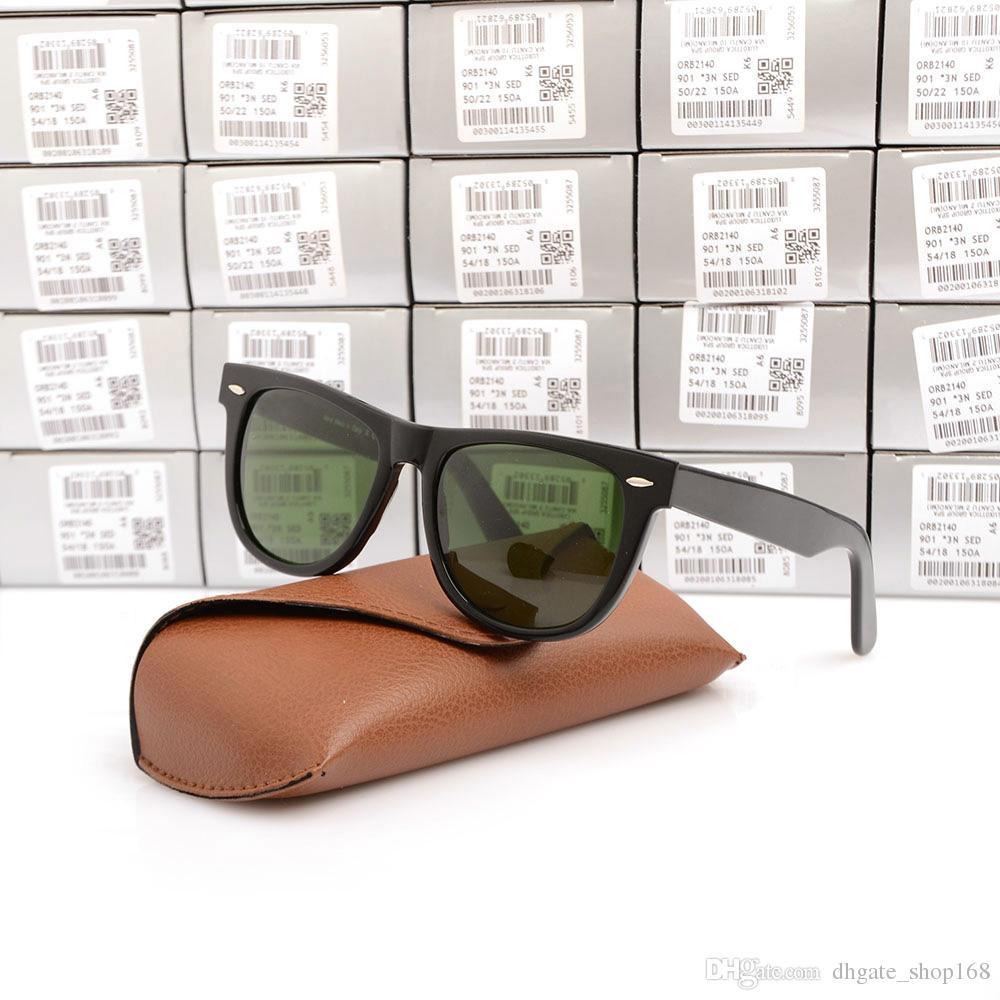 High Quality Plank black Sunglasses glass Lens Black Frame Green Lens Plank Sun glasses beach sunglasses Fashion 2140 Sunglasses with case