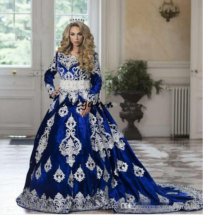 d4297992b6 Royal Blue Long Sleeve Prom Formal Dresses With Lace Applique 2018 Ayaba  Duabi Kaftan Turkey Moroccan Caftan Plus Size Evening Gown
