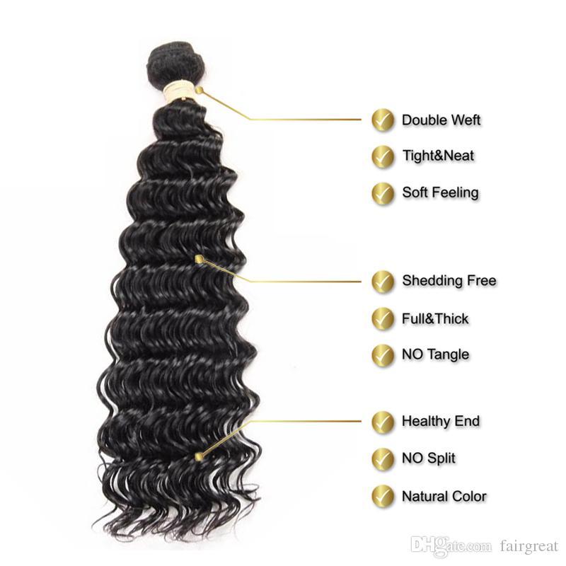Brasilianisches Menschenhaar der tiefen Welle spinnt 100% unverarbeitete Menschenhaar-Erweiterungen 3 Bündel mit Spitze-Schließungs-Haar-Webart-Bündel Großhandelspreis