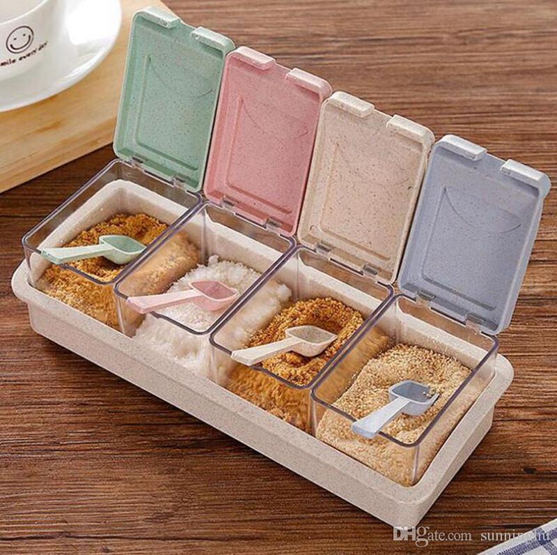 Plastic Seasoning Box Set Spice Herb Pepper Box Pot Kitchen Sauce Tools Storage Container Condiment Jars Kitchen Accessories